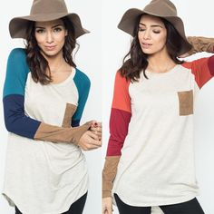 These tunics are perfect for every day! Loving the colorblock style and the suede!! Pair them with your favorite leggings to look cute and be comfortable!! On sale for $22.99!