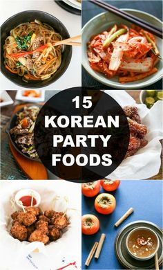 - 15 Korean Foods That Will Impress Your Party Guests Are you looking for some Korean party food inspiration? Korean Side Dishes, Easy Korean Recipes, Asian Recipes, Asian Desserts, Korean Appetizers, Authentic Korean Food, South Korean Food, Korean Kitchen, Le Diner