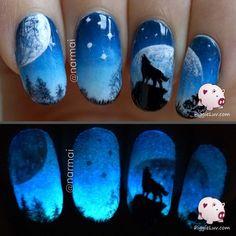 Galaxy wolf nail art! #piggieluv #bluenails See more #nailart - bellashoot.com (mobile-friendly), bellashoot iPhone & iPad app