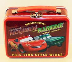 """Disney Pixar Cars Lightning McQueen & Ramone Small Embossed Lunch Box Tin/ Carry-all by Disney Pixar. $3.88. Small metal lunch box featuring Disney Pixar's Lightning McQueen with his pal Ramone and the text """"This Time Style Wins.""""  Great for snacks, crayons, jewelry, and more!   Tin Box Company printing inks comply with U.S. Consumer Product Safety Commission 16 CFR 1303 Ban of Lead Containing Paint and Certain Consumer Products Bearing Lead Containing Paint. ..."""