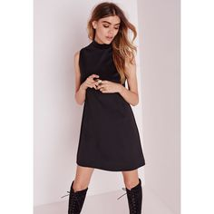 Missguided High Neck Sleeveless Scuba Shift Dress Black ($30) ❤ liked on Polyvore featuring dresses, black, black sleeveless dress, sleeveless dress, missguided dress, black shift dress and black day dress