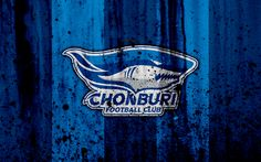Download wallpapers 4k, FC Chonburi, grunge, Thai League 1, soccer, art, football club, Thailand, Chonburi, logo, stone texture, Chonburi FC