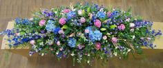 Coffin Spray Country Pink and Blue