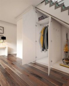 Accessories, Modern White Stained Wooden Understairs Shoe Storage Pull Out Door Lock Models Hanging Shirts Design Silver Stainless Handling Light Brown Polished Wooden Alluring Floor: Creative Under Stairs Shoe Storage Images Shoe Storage Under Stairs, Closet Under Stairs, Space Under Stairs, Staircase Storage, Under Stairs Cupboard, Hallway Storage, Basement Stairs, Cupboard Storage, Under The Stairs