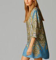 V cuello impresión elegante tótem vestido de la vendimia de tres cuartos causal de la manga del vestido de la marca delgado QZ1650 Nueva Moda '