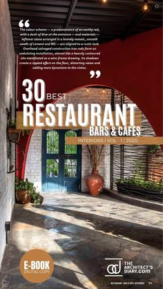 30 Best Restaurant Interior design in India is a collection of amazing Restaurant + Cafes + Bars design around the country, with this E-Book we believe to provide design inspiration to the readers. Also, the e.book is a well-curated design from the most innovative and established design firms. Restaurant Interior Design, Cafe Interior, Cafe Bar, Design Firms, Earthy, Color Schemes, Design Inspiration, India, Country