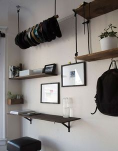 Rope Board and Hook Shelving for The Design Confidential On Display // 5 Stylish Storage Solutions You Can Totally DIY  Use hat rack idea for yarn or fabric?