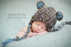 12 to 24m Toddler Earflap Bear Beanie Baby Hat Crochet Bear Hat Lagoon Blue Light Blue White EarFlap Hat Bear Photo Prop