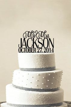 Custom Wedding Cake Topper - Personalized Monogram Cake Topper - Mr and Mrs - Cake Decor - Bride and Groom