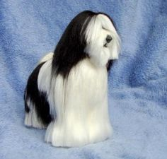 Tibetan Terrier Needle felt Pet Sculpture 4-5 inches by FibreHeart for $130.00