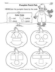 Fall Reproducible Page - Pumpkin Patch Pals for practicing colors, shapes, and… Fall Preschool, Preschool Lessons, Preschool Learning, Kindergarten Classroom, Classroom Activities, Toddler Activities, Preschool Activities, Teaching, Theme Halloween