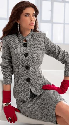 classy office wear...okay..so maybe not the gloves....unless of course it's cold/flu season