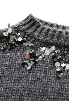 Focus on Sparkle Sequin Knit Sweater in Smoke - Sweaters - TOPS - Retro, Indie and Unique Fashion