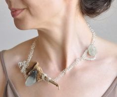 20+ Inspiring Examples of Driftwood + #Crochet - jewelry by eveldorado on Etsy
