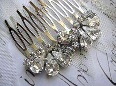 Free shipping BRIDAL hair comb vintage style wedding by Hinuma, $33.00