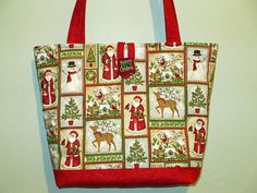 Christmas Purse/Tote quilted by CutePurseNalities on Etsy