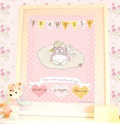 personalised new baby date print 'sleeping' by olivia sticks with layla | notonthehighstreet.com