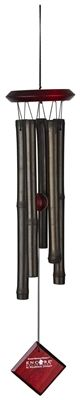 Encore #Bamboo Chimes #Ebony.  Hand-tuned to a universal, pentatonic scale. The gentle welcoming sounds of bamboo windchimes are common to many countries throughout the world. These chimes will delight you with their subtle, earthy tones. Bubinga finish wood, 5 black colored bamboo tubes.  #windchime #windchimes