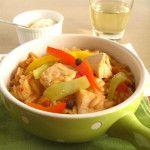 Γιουβέτσι με κοτόπουλο και πολύχρωμες πιπεριές Thai Red Curry, Ethnic Recipes, The One, Food, Essen, Meals, Yemek, Eten