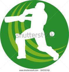 vector illustration of a cricket sports player batsman silhouette batting set inside a circle or ball shape - stock vector #cricketworldcup #retro #illustration
