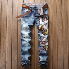 Cheap denim trousers for men, Buy Quality denim trousers directly from China jeans male Suppliers: Mens Fashion Jeans Design Pattern Ripped Denim Trousers For Men Distressed Slim Pants Cotton Jeans Male Harem Pants Ripped Jeans Men, Jeans Slim, Casual Jeans, Jeans Style, Blue Jeans, Denim Pants, Harem Pants, Trousers Mens, Men's Jeans