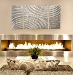 Modern Fireplace with Metal Wall Art Large Metal Wall Art, Large Artwork, Metal Wall Decor, Metal Art, Metal Wall Sculpture, Wall Sculptures, Modern Fireplace, Fireplace Art, Outdoor Art