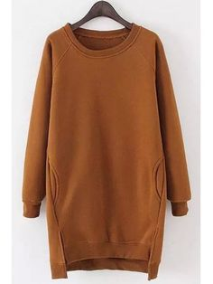 Solid Color Long Sleeves Side Slit Long Sweatshirt - KHAKI ONE SIZE(FIT SIZE XS TO M)