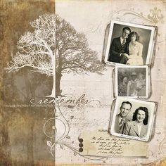 """scrapbooking ideas by magdalena [another nice """"heritage"""" layout - 3 photos +brushes/stamps]"""