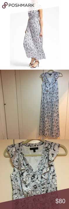 Banana Republic Ruffle Vee Maxi Dress Beautiful chiffon Blue Floral maxi by Banana Republic. Sleeveless style with Ruffle detail on front and back. V-neck, cute pleated detail at the waist. Invisible side zipper. Absolutely perfect condition. Measures 14 inches across the waist, 17 inches pit to pit, and 54.5 inches long. Banana Republic Dresses Maxi
