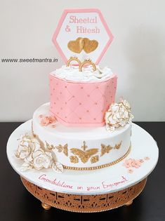 Engagement Ring Ceremony Theme 2 Layer Customized Designer Fondant Cake With Top In Shape Of Box Golden Rings For At Pune