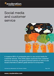 """eModeration's latest free white paper, """"A guide to social media and customer service,"""" examines how social customer service is growing, and gives practical advice on how to use social channels to deliver great service to consumers."""