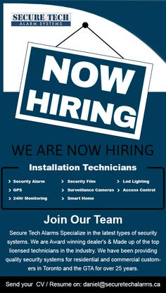Securetech Alarms looking for installation technicians.Please send your resume on: daniel@securetechalarms.ca Best Home Security System, Join Our Team, Security Alarm, Access Control, Alarm System, Smart Home, Resume, Smart House, Cv Design