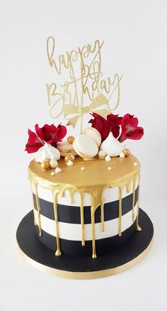 Birthday Cake Ideas For Him Mom 35 Best Ideas Kuchen iDeen ? Black And Gold Birthday Cake, Gold And White Cake, Birthday Cake For Him, White Birthday Cakes, Elegant Birthday Cakes, Happy Birthday Cake Images, 60th Birthday Cakes, Beautiful Birthday Cakes, Birthday Cakes For Women