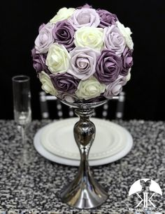 DUSTY LAVENDER, DUSTY Lilac & Ivory Flower Ball. Dusty Lilac Centerpiece. Dusty Lavender Centerpiece. Ivory Centerpiece. Lavender Wedding Lilac Wedding, Bling Wedding, Luxury Wedding, Elegant Wedding, Silver Wedding Decorations, Engagement Party Decorations, Lavender Centerpieces, Wedding Centerpieces, Eiffel Tower Vases