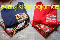 Boys pajamas tutorial with bought T-shirt and added pocket to match.