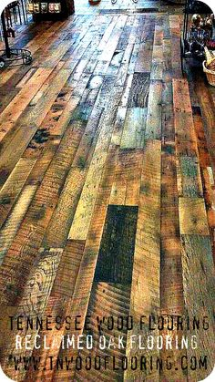 Awesome reclaimed oak flooring by Tennessee Wood Flooring.very unique! Reclaimed Hardwood Flooring, Rustic Wood Floors, Hardwood Floors, Pallet Kitchen Cabinets, Kitchen Floors, Things To Do Inside, Rustic Room, Rustic Decor, Flooring Companies