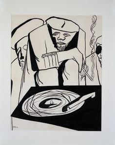 Playing Records. 1949. Jacob Lawrence. Harvey B. Gantt Center for African-American Arts + Culture