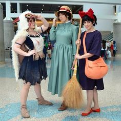 Princess Mononoke, Sophie Hatter, and Kiki Halloween costume