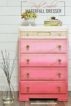 How to paint furniture with an ombre finish using four chalk paint colors and two different blending techniques like this sweet waterfall dresser painted pink. Coral Painted Furniture, Pink Furniture, Art Deco Furniture, Chalk Paint Furniture, Repurposed Furniture, Furniture Projects, Chalk Paint Dresser, Refurbishing Furniture, Rooms Furniture