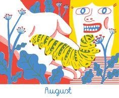 August caterpillar - from 2015 calendar by Lauren Humphrey
