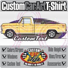 Custom Art T-Shirt 1973 73 1974 74  1975 1976 1977 1978 1979 Ford F-150 F-250 350 V8  Pickup Truck Cab long bed XLT Explorer Lariat Ranger by CustomCarArts on Etsy