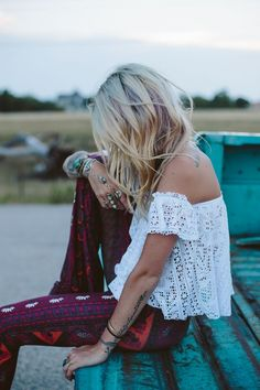 Patterned pants and lace top. <3 the details.