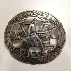 Gustav Gaudernack design for own workshop. Oval silver brooch with motif from viking saga (the god Odin on his horse Sleipner and the ravens Hugin and Munin). Silver Brooch, Ravens, Saga, Vikings, Workshop, Horses, Models, God, Personalized Items