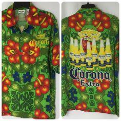 Corona Extra Shirt Size Medium Hawaiian Green Beer Bottles Tropical Flowers  #Corona #ButtonFront