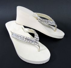 c7edf0a7d bridal flip flop sandals embellished with hand sewn satin flowers ...