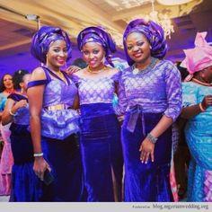 Nigerian Wedding ore iyawo (Friends of the bride) aso ebi styles. Various Purple Lace Nigerian outfits.