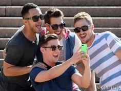 SYDNEY, AUSTRALIA - Wednesday September 25, 2013. Logan Henderson, Carlos Pena, Jr., Kendall Schmidt and James Maslow of 'Big Time Rush' vis...