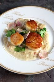New Year's Eve Dinner? Pan-Seared Sea Scallops with a Champagne Truffle Cream Wilted Butter Lettuce and Generous Shaving of Pink-Veined Italian White Truffle Fish Recipes, Seafood Recipes, Cooking Recipes, Healthy Recipes, Recipies, Champagne Recipe, Champagne Truffles, Seafood Scallops, Fish And Seafood