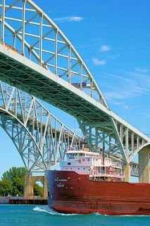 Blue Water Bridge and Freighter | by SleepingBear