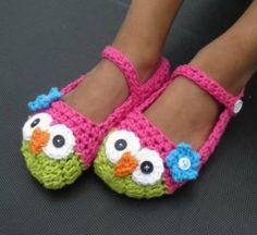 Crochet Owl Mary Jane Slippers Pattern